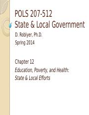 POLS 207 F2014 Chpt 12A on Poverty (Roblyer)