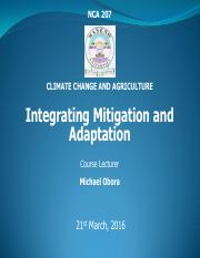 NCA 207 L7 INTEGRATING MITIGATION AND ADAPTATION