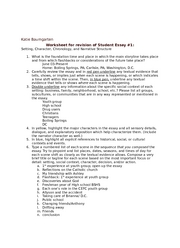 Worksheet for revision of Student Essay 1