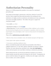 Authoritarian Personality Handout and Notes