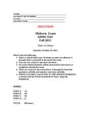 YU3541 Fall 2013 Midterm  Exam With Solution REV7