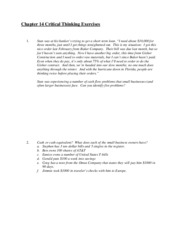 Chapter 14 Critical Thinking Exercises