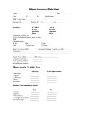 1 Pages Fitness Assessment Form