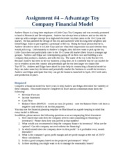 Assignment 4 - Constructing a Financial Model