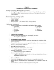 Chapter 2 Strategy Driven Human Resource Management Notes