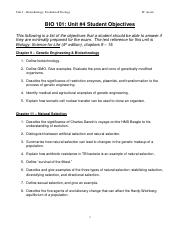 BIO 101_Unit 4_Learning Objectives
