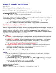 Chapter 9 - Disability Discrimination.docx