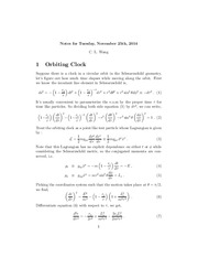 Study Guide on Orbiting Clock
