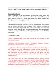 FLSB-Topic 2-Discussion question-Exemption clause & mispresentation