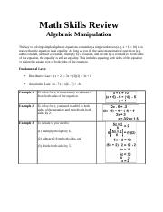 Chemistry Math Skills Review