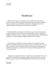 Health care insurance .docx