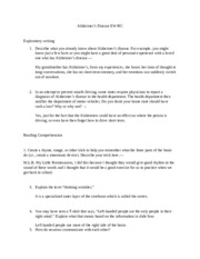 Alzheimer Worksheet with Answers