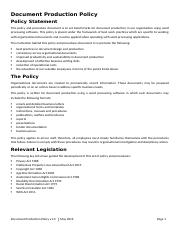 Document Production Policy and Procedures
