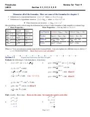 Precalculus Review For Test 4 (CH 3) Solutions