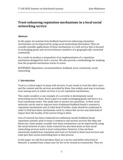 Trust enhancing reputation mechanisms in a local social networking service