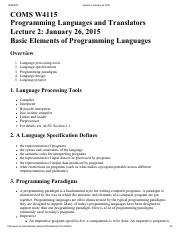 Lecture 2 Basic Elements of Programming Languages