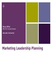 Marketing Leadership & Planning Sept 2015 1 - 3