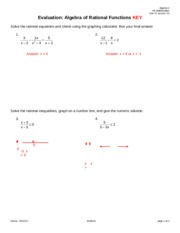 Evaluation Algebra of Rational Functions PI KEY