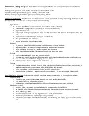 Human Geography final review sheet