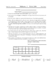 Math 103- Midterm Exam 1- 2009 (Section 203)