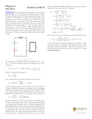 PHYSICS 21 Fall 2014 Homework 18 Solutions