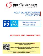OpenTuition ACCA Paper F2 December 2013