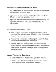 Importance of the Foodservice Cycle Notes