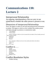 Interpersonal Relationships Notes