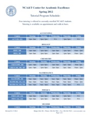 CAE Spring Tutoring Schedule 20121