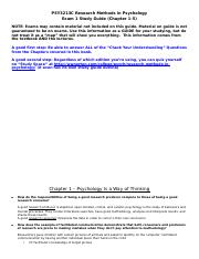 PSY 3213C - Study Guide for Exam 1.docx