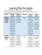 Hankersn_Connecting with families- Learning Plan for Joseph.docx