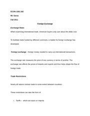 ECON 1301.102 Notes on Foreign Exchange