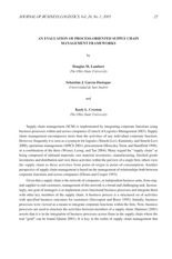 AN EVALUATION OF PROCESS-ORIENTED SUPPLY CHAIN