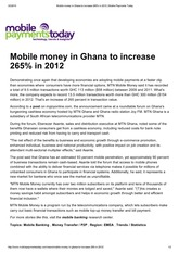 Mobile money in Ghana to increase 265% in 2012 _ Mobile Payments Today