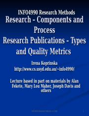Research Components and Process Research Publications  Types and Quality Metrics.ppt