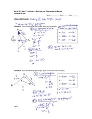 Trig Ratios Homework - The distance from one vertex to the opposite ...
