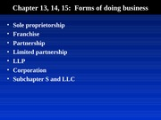 Blaw 2013: Forms of Doing Business