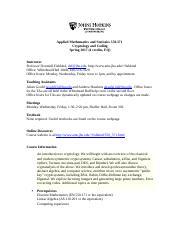MATH 371 CRYPTOLOGY AND CODING