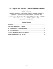 Origins of Cannabis Prohibition in California