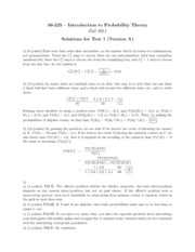 Test 1 A Solutions