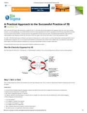 A Practical Approach to the Successful Practice of 5S