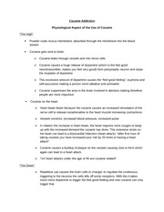 Cocaine Addiction information sheet