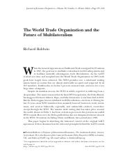 FIN4651 Module8 Reading3 -The World Trade Organization and the Future of Multilateralism.pdf