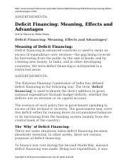 Deficit Financing Meaning Effects and Advantages
