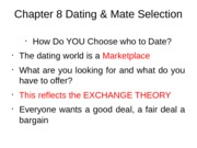 Chapter 8 Dating & Mate Selection