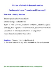 First Law - Energy Balance