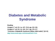 11:15 - Metabolic Syndrome and Diabetes