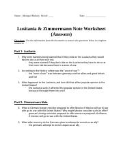 Monquel McKeey - Lusitania & Zimmermann Note Worksheet (Answers)