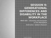 Session 9  - Handout Generational Differences and Disability in the Workplace(1)