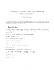 MATH135 Coutinho - Complex Numbers